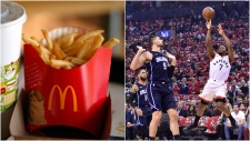 "Toronto Raptors' fans will now need to make a purchase at McDonald's to enjoy the fast-food chain's ""Beyond the Arch"" promotion. (AP Photo/Gene J. Puskar/The Canadian Press/Frank Gunn)"