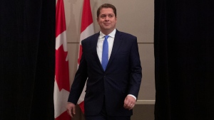 Conservative Leader Andrew Scheer arrives for a news conference in Regina, Tuesday October 22, 2019. THE CANADIAN PRESS/Adrian Wyld