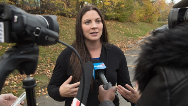 Newly elected Green Party MP Jenica Atwin speaks to the media in Fredericton on Tuesday, October 22, 2019. THE CANADIAN PRESS/Keith Minchin