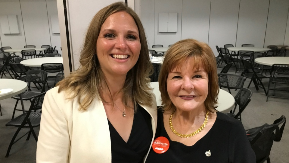 NDP MP-elect Lindsay Mathyssen, left, poses with her mother, former NDP MP Irene Mathyssen in London, Ont. on Monday, Oct. 21, 2019. (Sean Irvine / CTV London)