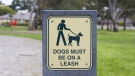 Leash required sign. (Shutterstock)