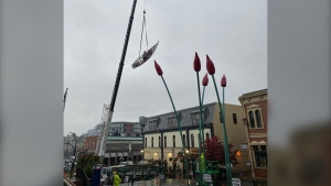 The Commerce Canoe art installation was removed by city staff on Oct. 17, 2019. (City of Victoria)