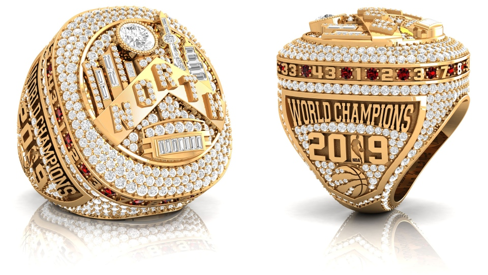 The Toronto Raptors 2019 NBA Championship ring is seen in this undated handout photo. THE CANADIAN PRESS/HO, Baron Rings