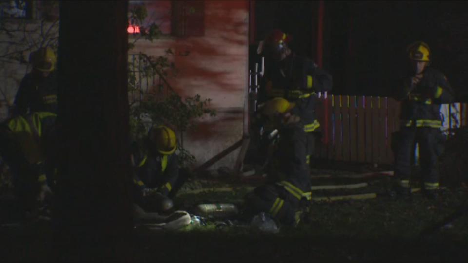 Crews respond to a house fire on Sprague Street Tuesday evening.
