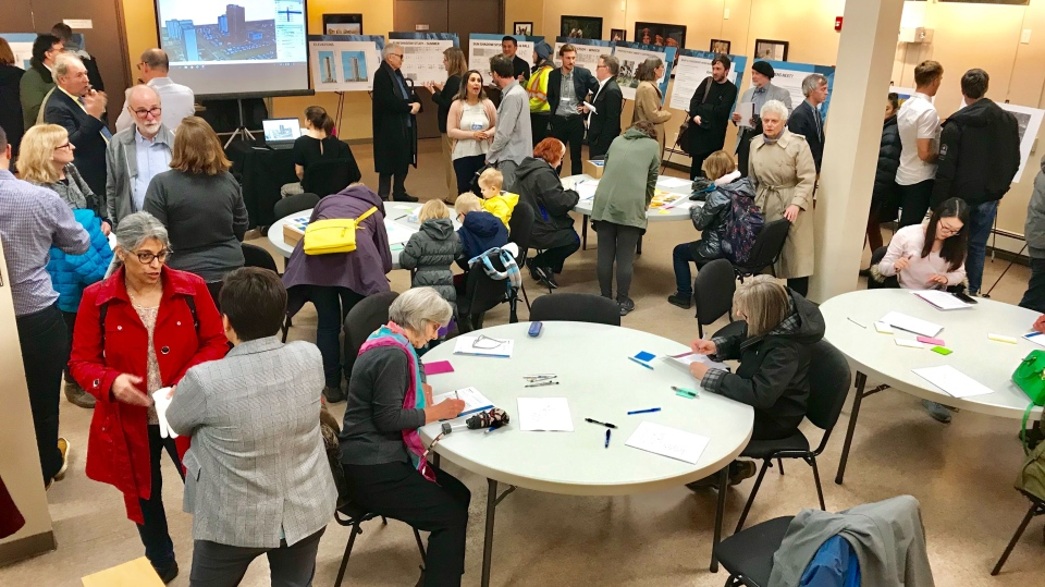 Public meeting at St. John's Institute for proposed residential tower in Garneau neighbourhood at 86 Avenue and 110 Street. Tuesday Oct. 22, 2019 (Sean Amato/CTV News Edmonton)