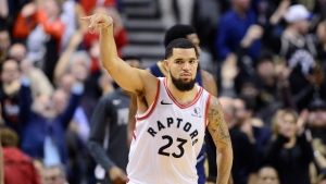 Toronto Raptors guard Fred VanVleet (23) celebrates his three point basket against the New Orleans Pelicans during NBA overtime action in Toronto on Tuesday Oct. 22, 2019. THE CANADIAN PRESS/Frank Gunn