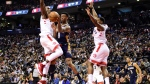 New Orleans Pelicans guard Nickeil Alexander-Walker (0) makes a pass around Toronto Raptors forward Serge Ibaka (9)during NBA second half action in Toronto on Tuesday Oct. 22, 2019. THE CANADIAN PRESS/Frank Gunn