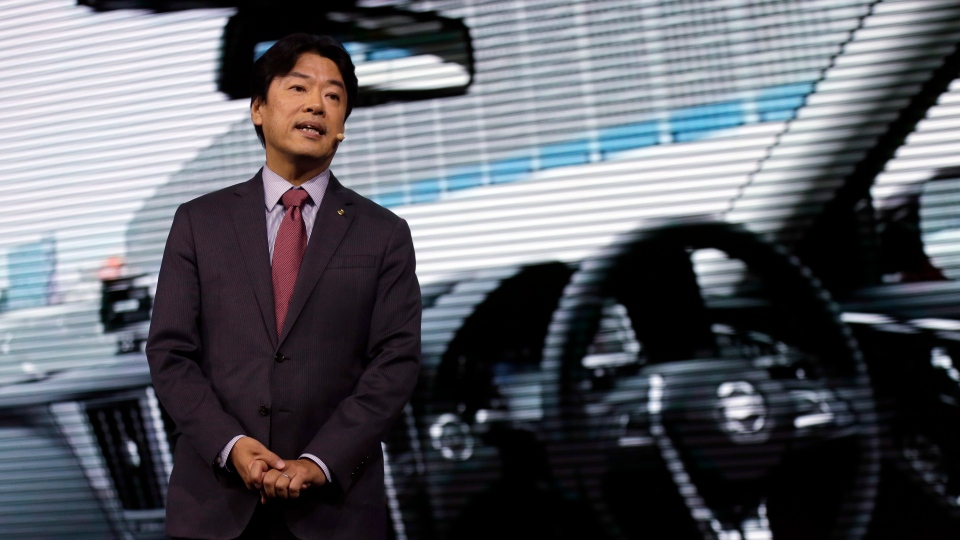 Nissan Motor Co. Executive Vice President Kunio Nakaguro speaks during Nissan's presentation of the media preview of the Tokyo Motor Show Wednesday, Oct. 23, 2019, in Tokyo. (AP Photo/Kiichiro Sato)