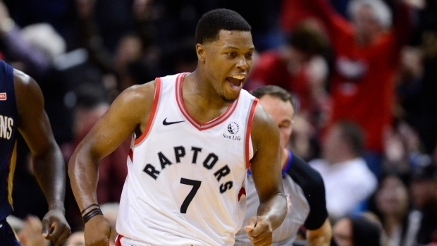 Toronto Raptors guard Kyle Lowry (7) celebrates his three point basket against the New Orleans Pelicans during NBA overtime action in Toronto on Tuesday Oct. 22, 2019. (The Canadian Press / Frank Gunn)