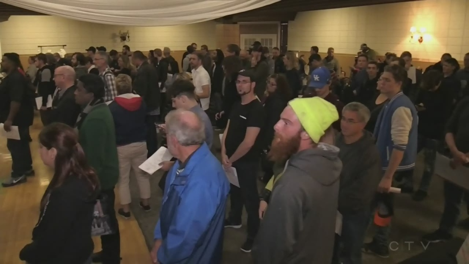 Hundreds showed up to a career fair for Kitchener cannabis company JWC. (Jeff Pickel/CTV Kitchener) (Oct. 22, 2019)
