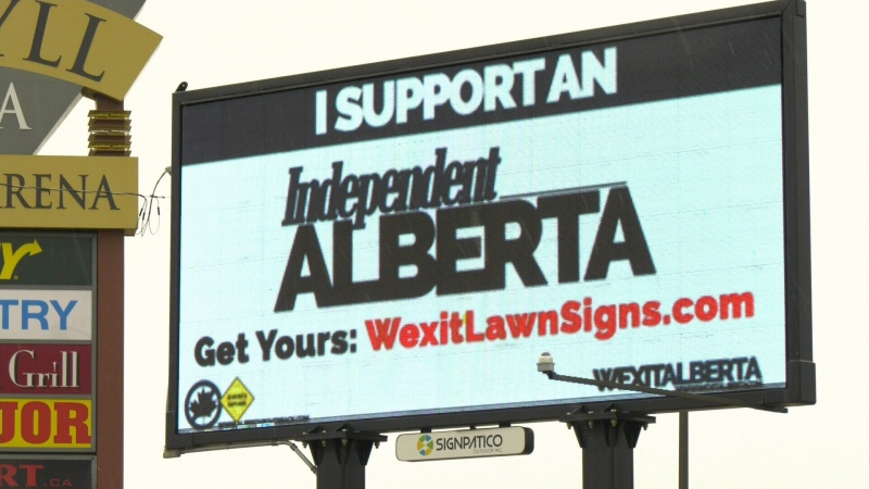 A pro-Wexit billboard in Alberta is seen in this file image.