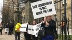 Crown attorneys picket outside the Nova Scotia legislature on Oct. 23, 2019. (Natasha Pace/CTV Atlantic)