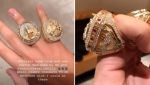 Drake shows off his Toronto Raptors championship ring and one-off ring he had made by celebrity jewelry designer Jason of Beverly Hills. (Instragram/ChampagnePapi)
