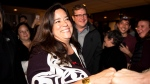 Independent candidate Jody Wilson-Raybould celebrates her election win in Vancouver, B.C. on Monday, October 21, 2019. The former Liberal MP was re-elected as an independent candidate. THE CANADIAN PRESS/Jimmy Jeong