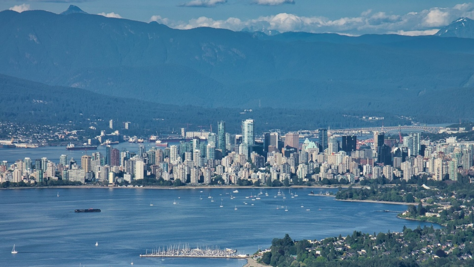 The Vancouver skyline is seen from CTV News Vancouver's Chopper 9 in June 2019. (Pete Cline)