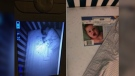 An Illinois mother who was spooked by a 'ghost baby' spotted on her son's crib monitor was relieved to see the phantom infant was simply a photo of a baby on the mattress. (Maritza Elizabeth/Facebook)
