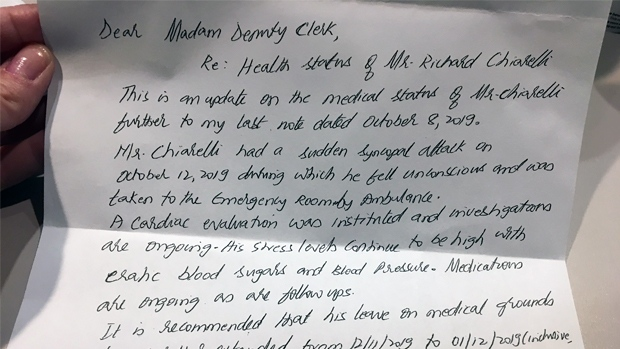 A portion of the note from Coun. Rick Chiarelli's doctor given to councillors on Wednesday.