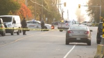 Police tape blocks the intersection of 72nd Avenue and 208A Street in the Township of Langley on Wednesday, Oct. 23, 2019.