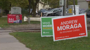 Signs for Kitchener Centre candidates line a street in the riding.