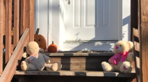 People have started leaving dolls and sympathy notes at the scene of a double murder-suicide in Montreal's east end. (Photo: Matt Gilmour/CTV News)