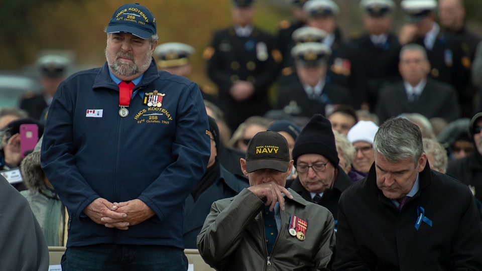 "Allan ""Dinger"" Bell, one of three men in the engine room to survive the fire and explosion on HMCS Kootenay, is recognized at the 50th anniversary of the tragedy at the Bonaventure Anchor Memorial in Point Pleasant Park in Halifax on Wednesday, Oct. 23, 2019. (THE CANADIAN PRESS/Andrew Vaughan)"