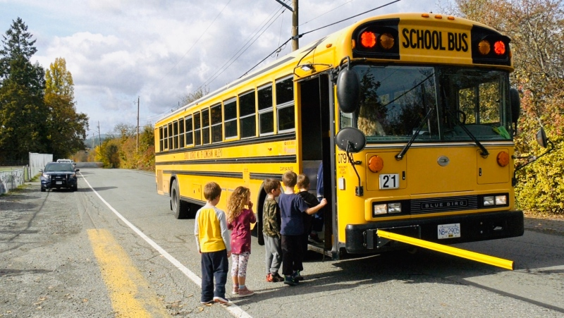 Students board a school bus in the Cowichan Valley School District: Oct. 23, 2019 (CTV News)