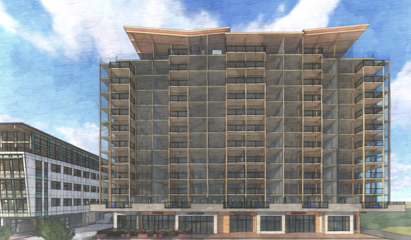 A developer's rendering of the 12-storey mass timber Tallwood 1 building coming to Langford. (Design Build Services )