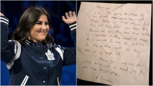 Bianca Andreescu received a note written on a napkin by a fan while on a flight. (The Canadian Press/Fred Thornhill/Twitter)