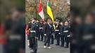 Lt. Gov. Russ Mirasty wore moccasins to Wednesday's throne speech. (Gareth Dillistone / CTV News Regina)