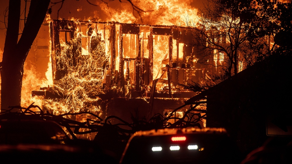 Flames consume a home in Sonoma County