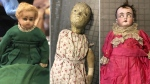 Photos provided by Christine Rule shows vintage dolls that are part of the creepiest dolls collection at the History Center of Olmsted County in Rochester, Minn. (Christine Rule via AP)