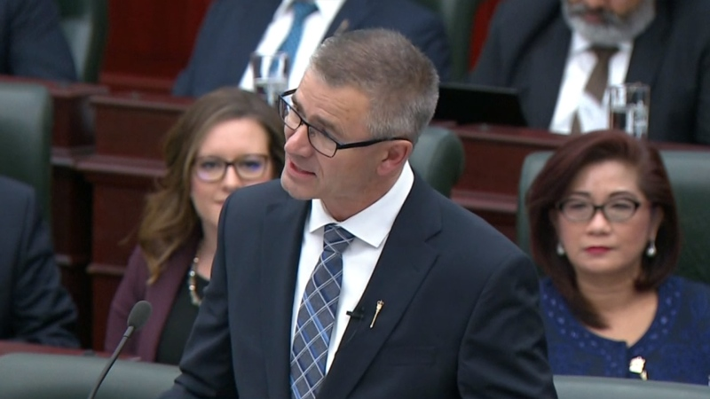 Finance Minister Travis Toews delivers the UCP government's first budget at the Alberta legislature Thursday, Oct. 24, 2019. (Alberta.ca)