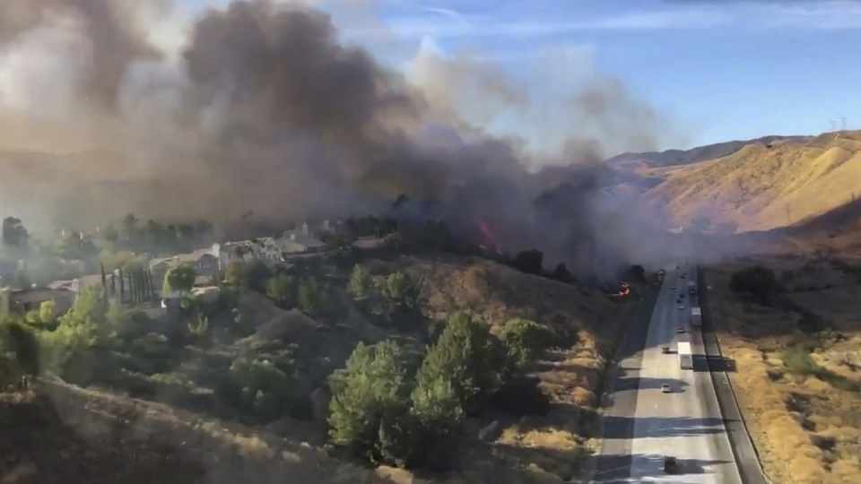 Battling a wildfire in Castaic, Calif.