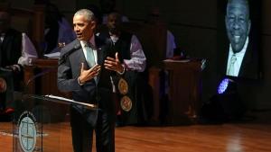Former president Barack Obama speaks during funeral services for Rep. Elijah Cummings, Friday, Oct. 25, 2019, in Baltimore. (Chip Somodevilla/Poo via AP)