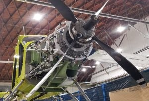 An ePlane motor mount and motor are installed with new four blade propeller. (Harbour Air Seaplanes)