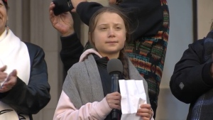 Greta Thunberg speaking to a large crowd outside the Vancouver Art Gallery on Oct. 25, 2019.