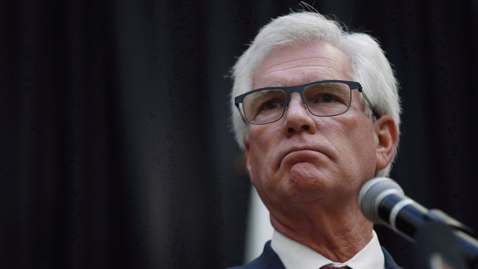 Jim Carr, Minister of International Trade Diversification speaks during a press conference in Winnipeg on Tuesday, October 23, 2018. The federal government has appointed its long awaited independent watchdog to enforce responsible conduct of Canadian companies operating abroad. THE CANADIAN PRESS/John Woods