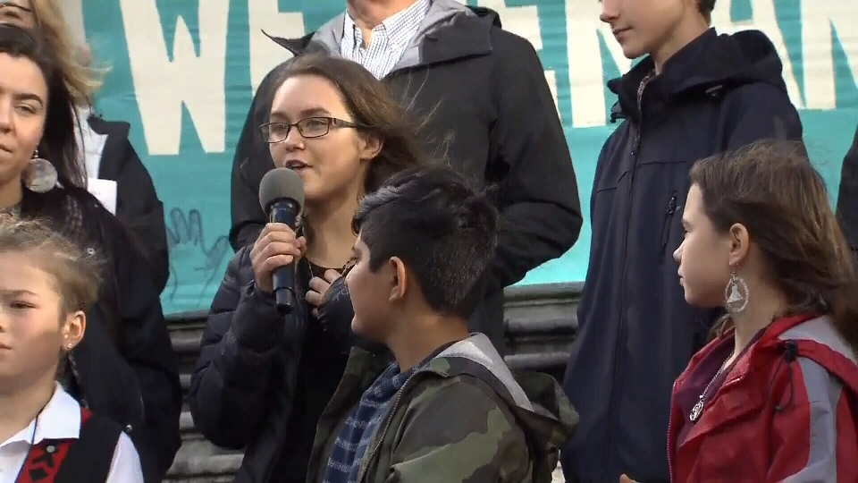17-year-old Sierra Robinson, of Duncan, shares why she joined the lawsuit to thousands gathered outside of the Vancouver Art Gallery: Oct. 25, 2019 (CTV News)