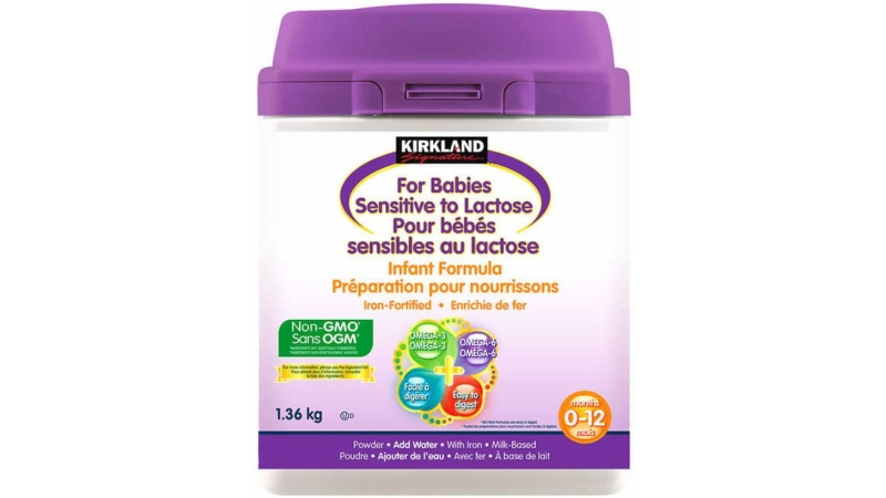 Kirkland Signature – Non-GMO Infant Formula for Babies Sensitive to Lactose – 1.36 kg has been recalled by the Canadian Food Inspection Agency.