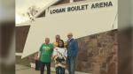 The City of Lethbridge officially renamed the Adams Park Ice Centre as the Logan Boulet Arena on Oct. 26 during a ceremony. Here, Mayor Chris Spearman, far left, and Councillor Blaine Hyggen, far right, stand with Bernadine and Toby Boulet.