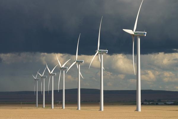 Summerside row of Vision Quest wind turbines near Pincher Creek in Southern Alberta (David Dodge, Pembina Institute)