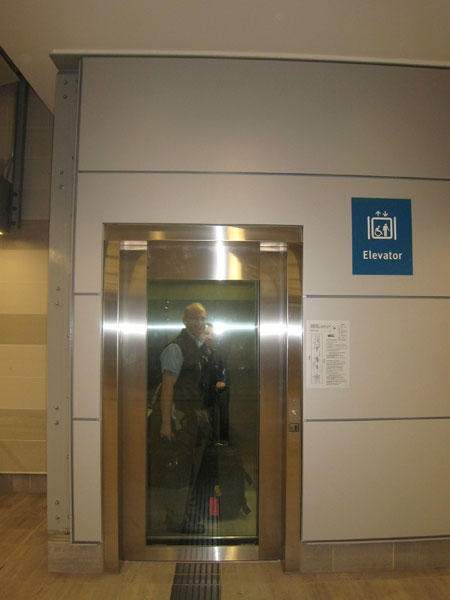 """Canada Line's elevators give riders options of going to levels """"S,"""" """"C"""" and """"T."""" But what do they stand for? Some riders are confused. Sept. 4, 2009."""