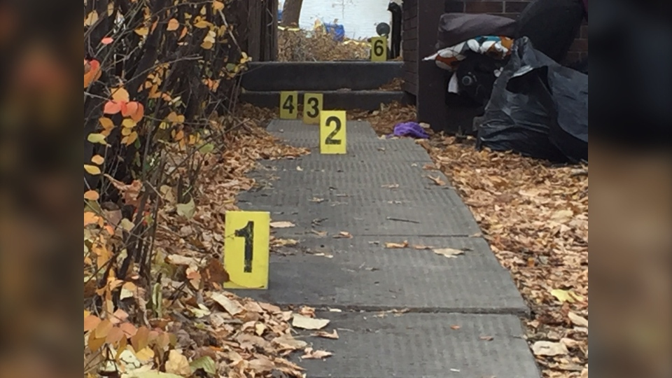 Police markers at a home on Kinver Avenue in Winnipeg on Oct. 27, 2019. (Source: Gary Robson/ CTV News Winnipeg)