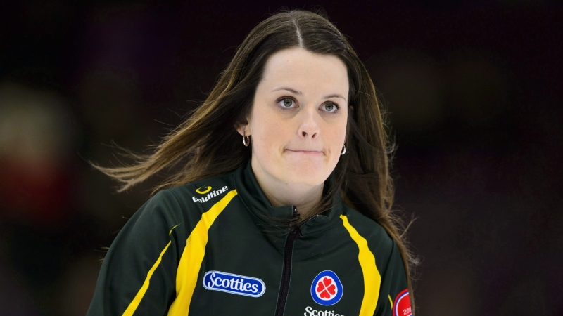 Northern Ontario skip Tracy Fleury takes on Ontario at the Scotties Tournament of Hearts in Penticton, B.C., on Friday, Feb. 2, 2018. THE CANADIAN PRESS/Sean Kilpatrick