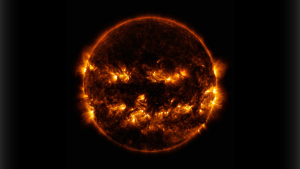 NASA imaging shows active regions on the sun combined to look like a jack-o-lantern on Oct. 8, 2014. (Goddard Space Flight Center)