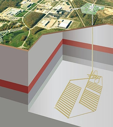 An illustration shows the plan for a nuclear waste burial project on the Bruce Power site.