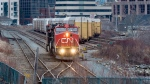 In this file photo, a CN Rail diesel electric locomotive moves through the rail yard in Dartmouth, N.S. on Thursday, March 29, 2018. THE CANADIAN PRESS/Andrew Vaughan