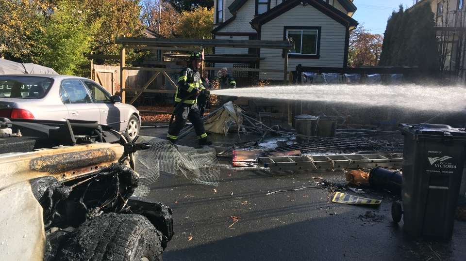 Fire crews douse the flames at a fire on Quadra St. Monday afternoon: Oct. 28, 2019 (CTV News)