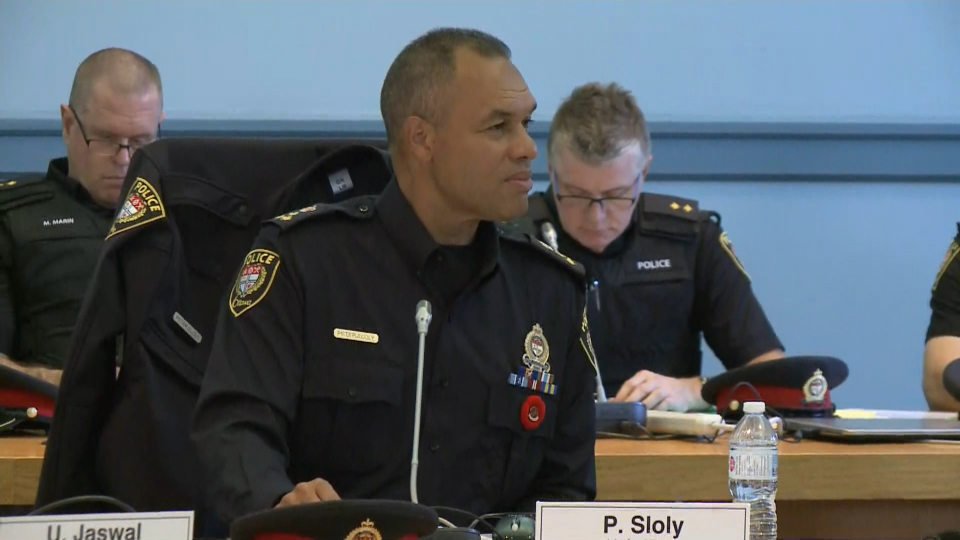 Hours after being sworn in, Ottawa police Chief Peter Sloly attends his first Police Services Board meeting on October 28.