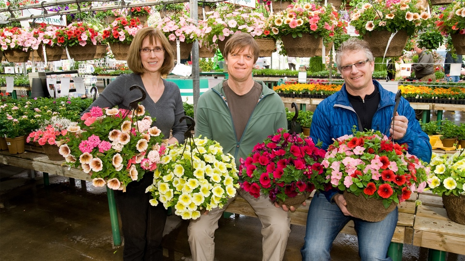 Valerie, Bill and Jim run Holes Greenhouse.
